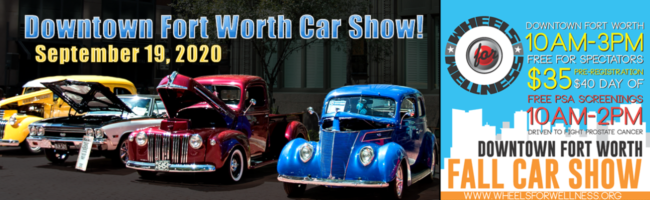 Wheels for Wellness Downtown Fort Worth Car Show banner